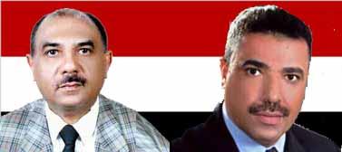 """סגר לו את העיתון. משמאל: חסן אל-לַאוּזי, שר המידע התימני, וג'מאל עאמר, המו""""ל והעורך של """"אל-ואסאט""""."""