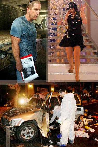 """משמאל בכיוון השעון: שוטר אוחז בתמונתה של הילדה רוז פיזם; המנצחת בתוכנית הטלוויזיה """"האח הגדול""""; שרידי מכוניתו של עו""""ד יורם חכם (צילום: פלאש 90)"""
