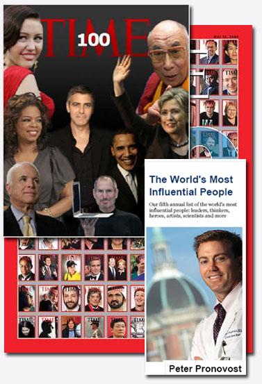 """מאה האנשים המשפיעים ב-2008 של המגזין """"טיים"""", וביניהם הרופא פטר פרונובוסט (המקור לצילומי העיתונים באתר ניוזיאום)"""