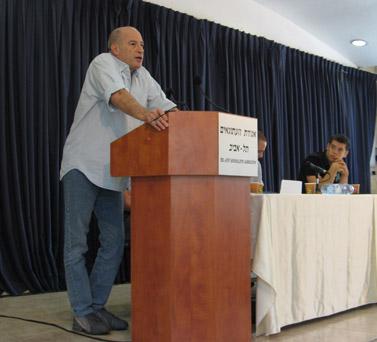דורון גלעזר בכנס ייסוד החטיבה הצעירה של אגודת העיתונאים, תל-אביב, יולי 2008