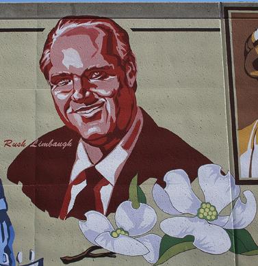 ציור קיר עם דמותו של ראש לימבו, בעיר הולדתו במיזורי (צילום: סטיב9567, רשיון CC)
