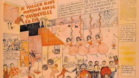 """""""הילד הצהוב"""", """"De Yaller Kid's Mother Goose Vaudville Co. LTD"""", """"ניו-יורק ג'ורנל"""", 10 בינואר 1897 (הצילומים מאתר אוניברסיטת אוהיו, אוסף אקדמיית סן-פרנסיסקו לאמנות הקומיקס)"""