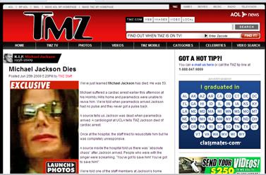 הידיעה באתר TMZ על מותו של הזמר מייקל ג'קסון (צילום מסך)