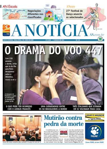 """שער העיתון הברזילאי """"א-נוטיסיה"""" מה-6.2"""