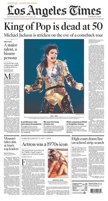 """שער ה""""לוס-אנג'לס טיימס"""", 26.6.09 (מהאתר """"ניוזאום"""")"""