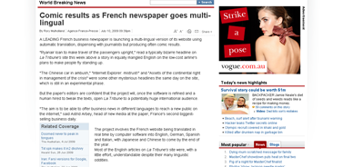 Comic results as French newspaper goes multi-lingual  World Breaking News  News.com.au