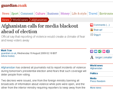 Afghanistan calls for media blackout on violence ahead of election  World news  guardian.co.uk