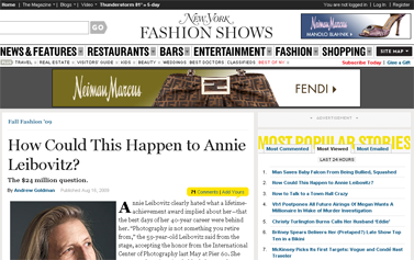 Fall Fashion 2009 - How Could Annie Leibovitz Be on the Verge of Financial Collapse -- New York Magazine
