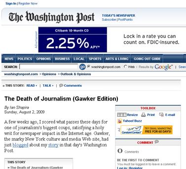 Ian Shapira -- How Gawker Ripped Off My Newspaper Story - washingtonpost.com