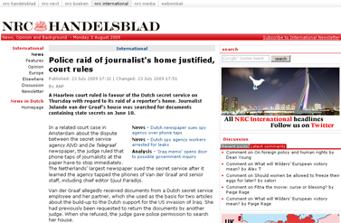 nrc.nl - International - Police raid of journalist's home justified, court rules