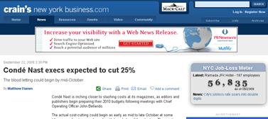 CondNast execs expected to cut  ewiness