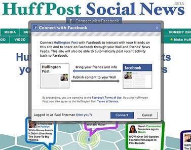 """היישום ה""""חברתי"""" האחרון: Huffpost Social News (צילום מסך)"""