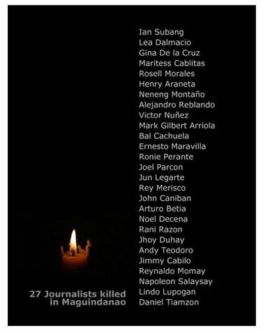 דף זיכרון לעיתונאים שנרצחו בטבח מיגוינדנאו (מקור: hi-bert)