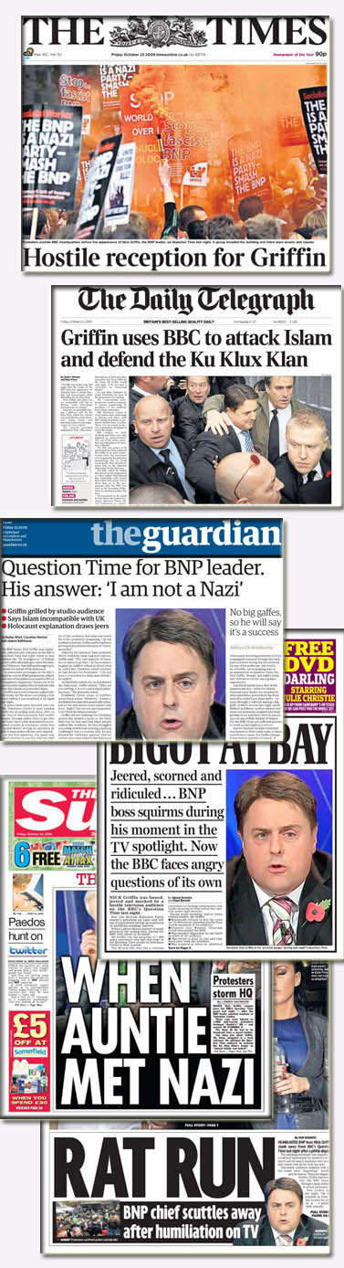 """שערי עיתונים בבריטניה לאחר שידור הראיון עם גריפין (מקור: אתר ה""""גרדיאן"""")"""