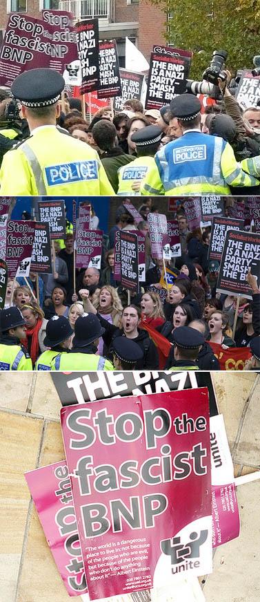 הפגנות מול בניין ה-BBC בלונדון, ערב הופעתו של גריפין (צילומים: Mike Fleming, james m. thorn, רשיון cc-by)