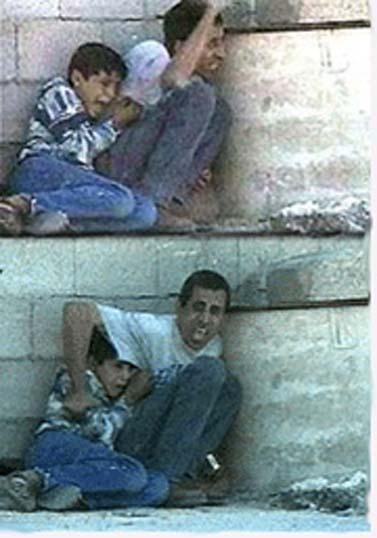 מוחמד א-דורה ואביו (מתוך הסרטון)