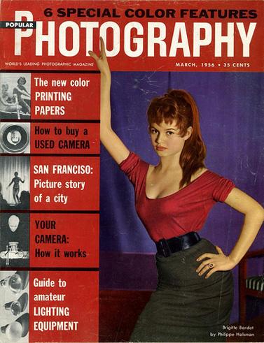 """בריג'יט ברדו על שער המגזין """"צילום פופולרי"""", מאי 1956 (מקור: Mario Groleau, רשיון cc-by-nc)"""