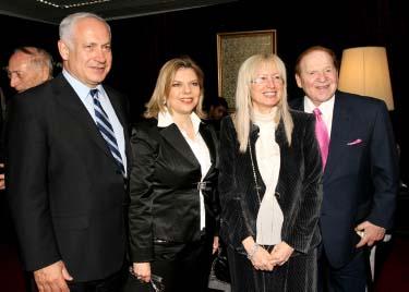 הזוג אדלסון והזוג נתניהו. ירושלים, 13.5.08 (צילום: אנה קפלן)