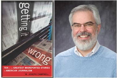 """ג'וזף קמפבל ועטיפת ספרו """"Getting it wrong"""" (צילום: ג'ף ווטס, האוניברסיטה האמריקאית)"""