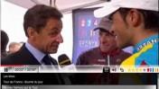 סרקוזי, ארמסטרונג וקונטדור, אתמול על הטורמאלה (צילום מסך מתוך חדשות פראנס 2)
