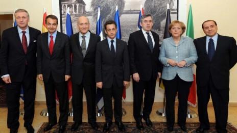 """שישה מנהיגים אירופים במפגש עם ראש ממשלת ישראל אהוד אולמרט בירושלים, 18.1.09. קיצוני מימין: ראש ממשלת איטליה סילביו ברלוסקוני (צילום: אבי אוחיון, לע""""מ)"""