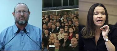 """מימין: ח""""כ שלי יחימוביץ', כנס """"המשקיעים הקטנים"""" של """"מעריב"""", המשקיע דוד ויינברגר (צילומים: ליאור מזרחי, צילומי מסך nrg)"""