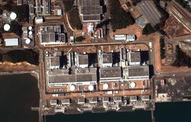 הכור בפוקושימה, יפן (צילום: DigitalGlobe, רשיון cc-by-nc-nd 2.0)