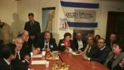 ישיבה של מפלגת ישראל-ביתנו בראשותו של אביגדור ליברמן, ערב הכניסה לכנסת ה-18. ירושלים, 17.3.09 (צילום: אוליבייה פיטוסי)