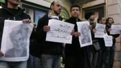פלסטינים מפגינים ברמאללה לאחר הירצחו של השחקן והבמאי ג'וליאנו מר בג'נין (צילום: עיסאם רימאווי)