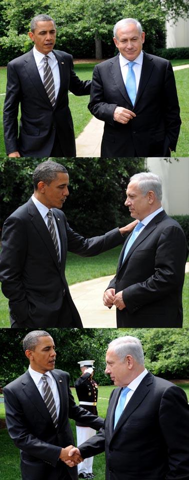 """ראש ממשלת ישראל בנימין נתניהו ונשיא ארה""""ב ברק אובמה בבית הלבן בוושינגטון, שלשום אחרי פגישתם (צילום: אבי אוחיון, לע""""מ)"""