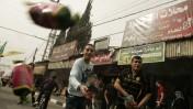 """תושבים ברפיח חוגגים את הסכם הפיוס בין חמאס לפת""""ח, אתמול (צילום: עבד רחים חטיב)"""