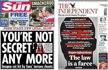 """שערי העיתונים הבריטיים """"הסאן"""" ו""""אינדיפנדנט"""", העוסקים בפרשת גיגס"""