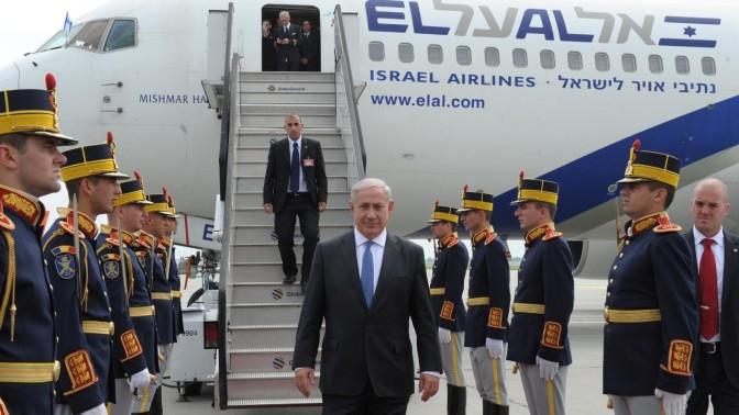 """בנימין נתניהו, ראש ממשלת ישראל, בעת ביקור ברומניה, השבוע (צילום: משה מילנר, לע""""מ)"""