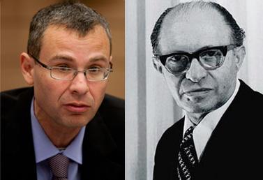 """מנחם בגין (1913–1992) וח""""כ יריב לוין (ליכוד), יוזם התיקון לחוק לשון הרע (2011) (צילומי ארכיון)"""