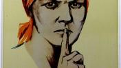 """""""אל תפטפט!"""" (גלויה: נ. ווטולינה ונ. דניסוב, 1941)"""
