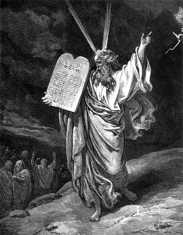 משה רבנו מציג את לוחות הברית (תחריט: גוסטב דורה, 1865)