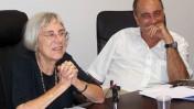 """נשיאת מועצת העיתונות דליה דורנר ומזכ""""ל המועצה אריק בכר (צילום: """"העין השביעית"""")"""