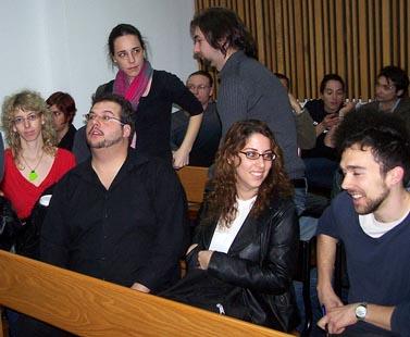 """יהונתן זילבר, שני משמאל, בדיון בבית-הדין לעבודה ביום חמישי האחרון (צילום: """"העין השביעית"""")"""