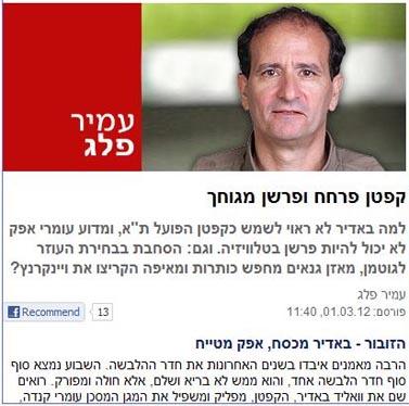 טור אופייני של עמיר פלג ב-ynet