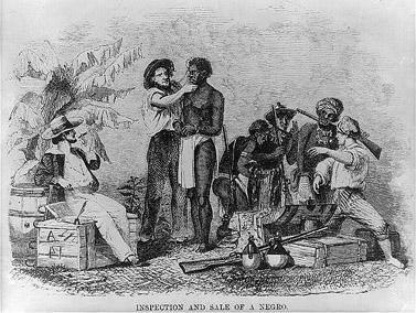 """""""בדיקה ומכירה של כושי"""". תחריט, 1854"""