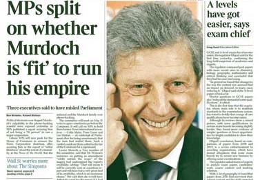 """שער ה""""טיימס"""", היום. ה""""טיימס"""" נחשב לעיתון האיכות שבזרוע הבריטית של תאגיד התקשורת שבראשות רופרט מרדוק"""