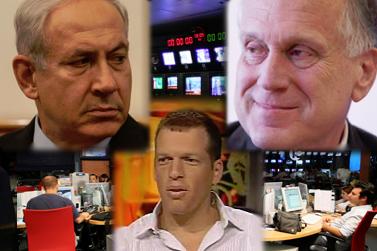 """משמאל למעלה בכיוון השעון: ראש ממשלת ישראל בנימין נתניהו, איל ההון ובעל מניות בערוץ 10 רון לאודר, מנכ""""ל חברת החדשות של ערוץ 10 אורי רוזן (צילומים: """"העין השביעית""""; עידו קינן חדר 404, צילום מסך; משה שי)"""
