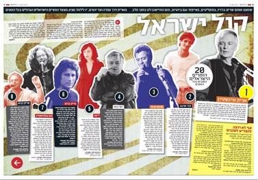 """כפולת העמודים הראשונה של דירוג """"20 הזמרים הישראלים הטובים בכל הזמנים"""", אחרי ששונתה על-ידי העורך הראשי רון ירון"""