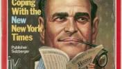 """ארתור אוקס סולצברגר על שער המגזין """"טיים"""" ב-15 באוגוסט 1977, אחרי שיצא במהלך להרחבת העיתון"""