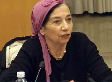 הרבנית שולמית מלמד בפאנל במכון הישראלי לדמוקרטיה, ינואר 2012 (צילום מסך)