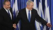 ראש הממשלה בנימין נתניהו ושר החוץ אביגדור ליברמן, במסיבת עיתונאים אתמול (צילום: מרים אלסטר)