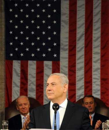 """ראש הממשלה בנימין נתניהו נואם בפני הקונגרס בוושינגטון (צילום: אבי אוחיון, לע""""מ)"""