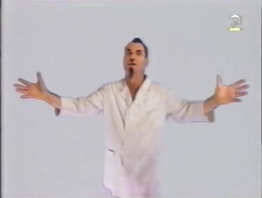 """שלמה בראבא כ""""ברונו"""" בשידורי טלעד, 1993 (צילום מסך)"""