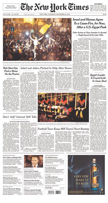 """שער ה""""ניו-יורק טיימס"""", 22.11.12"""