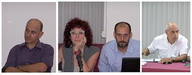 """מימין: מוטי אמיר, אופיר טל, ורד ברמן ונדב העצני, היום בישיבת מועצת העיתונות (צילומים: """"העין השביעית"""")"""